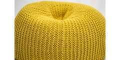 Pouf ovale Ø 70 cm en coton de couleur: Jaune