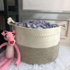 Corbeille à linge en corde blanche et kaki