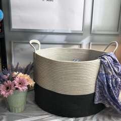 Panier à linge en corde blanc et gris foncé