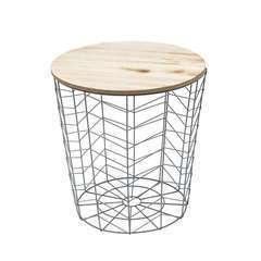 CMP-Table filaire bois et métal gris motif chevron
