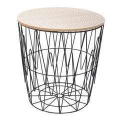 The Home Deco Factory-Table filaire plateau bois motif zigzag