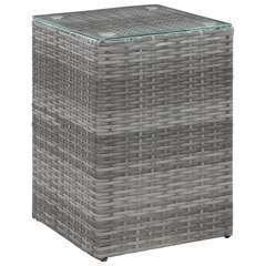 Table d'appoint à dessus en verre Gris Poly rotin - 35x35x52cm