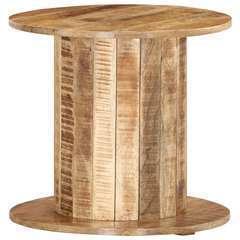 Table d'appoint ronde Bois de manguier brut solide - 50x50x46cm