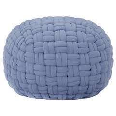 Pouf Design tressé Bleu Coton - 50x35cm