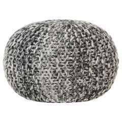 Pouf tricoté à la main Gris foncé Tissu Aspect de laine - 50x35cm