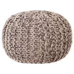 Pouf tricoté à la main Gris clair Tissu Aspect de laine - 50x35cm