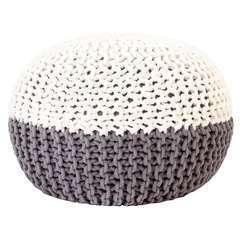 Pouf tricoté à la main Anthracite et blanc Coton - 50x35cm