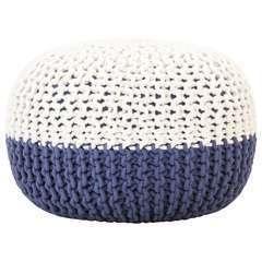 Pouf tricoté à la main Bleu et blanc Coton - 50x35cm