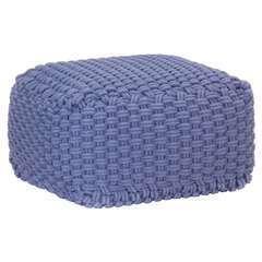 Pouf tricoté à la main Bleu Coton - 50x50x30cm