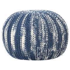 Pouf tricoté à la main Bleu et blanc Laine - 50x35cm