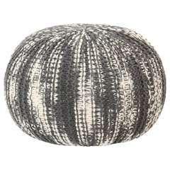 Pouf tricoté à la main Gris foncé et blanc Laine - 50x35cm