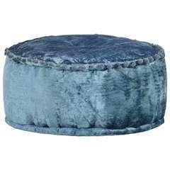 Pouf Rond Velours Bleu - 40x20cm