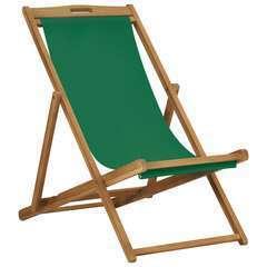 Chaise de plage pliable Bois de teck solide Vert