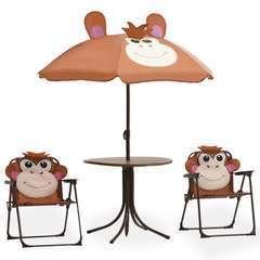Jeu de bistro avec parasol pour enfants 3 pcs Marron
