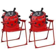 Chaises de jardin pour enfants 2 pcs Rouge Tissu