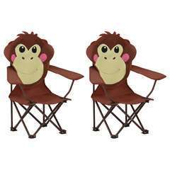 Chaises de jardin pour enfants 2 pcs Marron Tissu