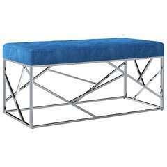 Banc Bleu Tissu de velours et acier inoxydable - 97cm