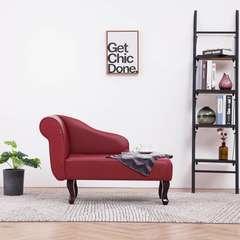 Chaise longue Rouge bordeaux Similicuir