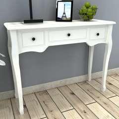 Table de console et coiffeuse avec 3 tiroirs Blanc