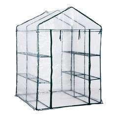 Serre de jardin en acier PVC vert avec 4 étagères  - 2,04m²