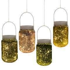 Lumière de jardin mason jar en verre solaire 4 pièces - LED étanche
