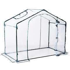 Serre de jardin en acier PVC transparent vert - 1,89m²
