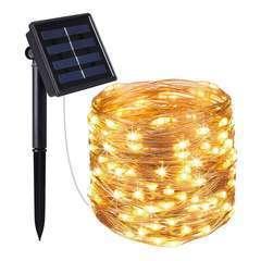 Guirlande lumineuse en cuivre 100 LED blanc chaud SKINNY SOLAR 11.90m