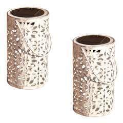 Lot de 2 lanternes métal vieilli LED blanc chaud BLOOM H31cm
