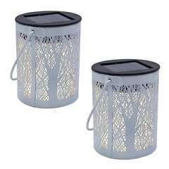 Lot de 2 lanternes blanches métal LED blanc chaud FOREST H18cm