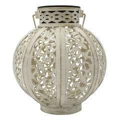 Lanterne métal vieilli marocain effet ombre LED blanc chaud MOOD H26cm