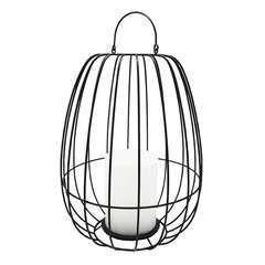 Lanterne cage métal sans fil LED blanc chaud SUNSET H38 cm