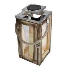 Lanterne chic en bois naturel LED blanc chaud OAKY H41cm