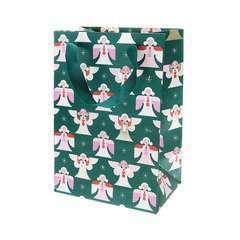 Sac cadeau vert avec Ange - 18x26x12 cm