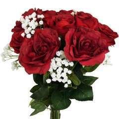 Bouquet artificiel création fleuriste rouge