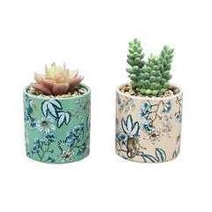 Lot de 2 succulentes artificielles - pots céramiques motif floral 12cm