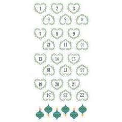 30 Stickers autocollants - Puffies XL Chiffres de l'Avent 'coeurs'