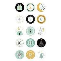 30 Stickers autocollants ronds Imagine Noël - Chiffres de l'Avent