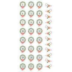 33 Stickers autocollants - Puffies XL chiffres l'Avent 'couronnes'