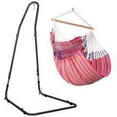 Chaise Hamac Habana Flamingo Comfort coton bio + Support Acier Méditer