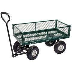 Chariot de jardin maille Acier 86,5x46,5x21 cm Vert/noir