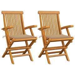 Chaises de jardin avec coussins beige 2 pcs Bois de teck massif
