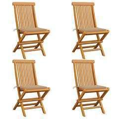 Chaises de jardin avec coussins beige 4 pcs Bois de teck massif