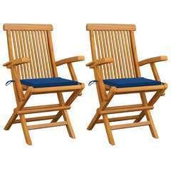 Chaises de jardin avec coussins bleu 2 pcs Bois de teck massif