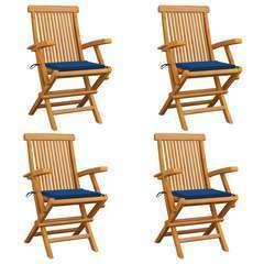 Chaises de jardin avec coussins bleu 4 pcs Bois de teck massif