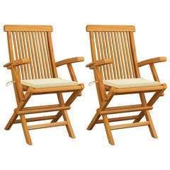 Chaises de jardin avec coussins crème 2 pcs Bois de teck massif