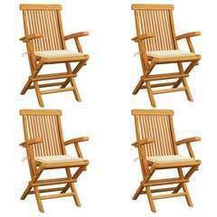 Chaises de jardin avec coussins crème 4 pcs Bois de teck massif