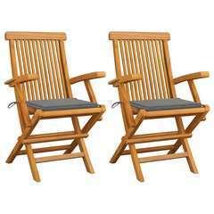 Chaises de jardin avec coussins gris 2 pcs Bois de teck massif