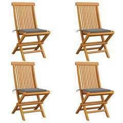 Chaises de jardin avec coussins gris 4 pcs Bois de teck massif