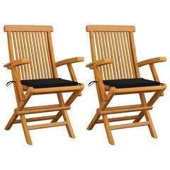 Chaises de jardin avec coussins noir 2 pcs Bois de teck massif