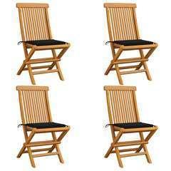 Chaises de jardin avec coussins noir 4 pcs Bois de teck massif